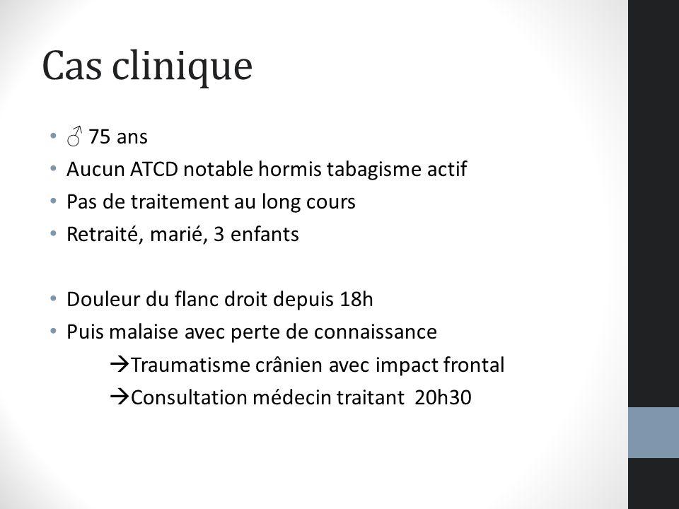 Cas clinique ♂ 75 ans Aucun ATCD notable hormis tabagisme actif