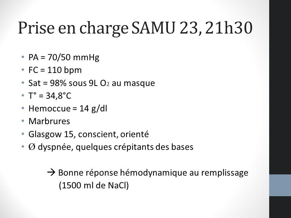 Prise en charge SAMU 23, 21h30 PA = 70/50 mmHg FC = 110 bpm