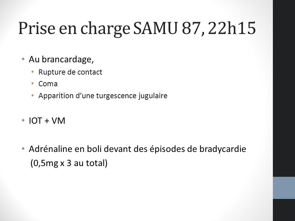 Prise en charge SAMU 87, 22h15 Au brancardage, IOT + VM