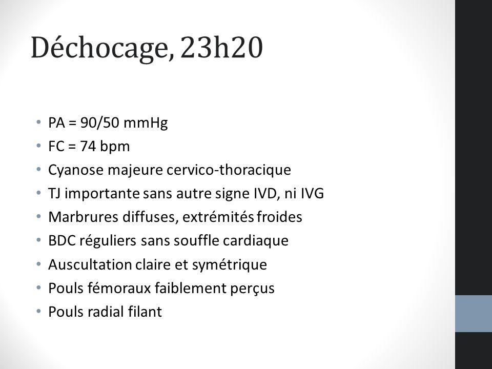 Déchocage, 23h20 PA = 90/50 mmHg FC = 74 bpm