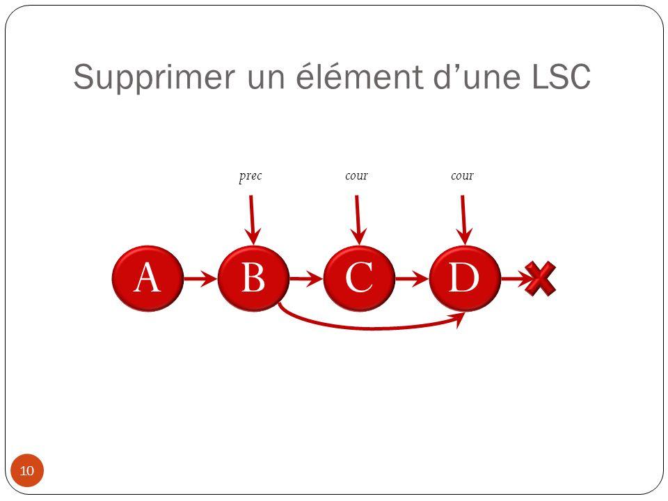 Supprimer un élément d'une LSC