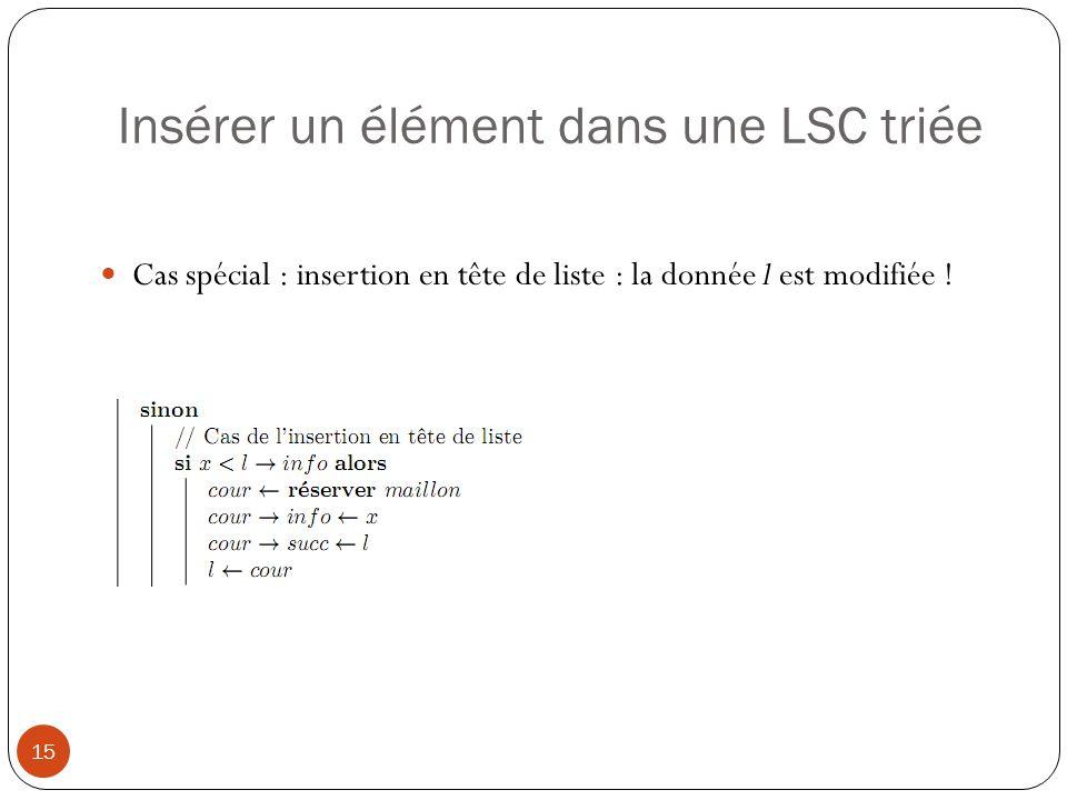 Insérer un élément dans une LSC triée