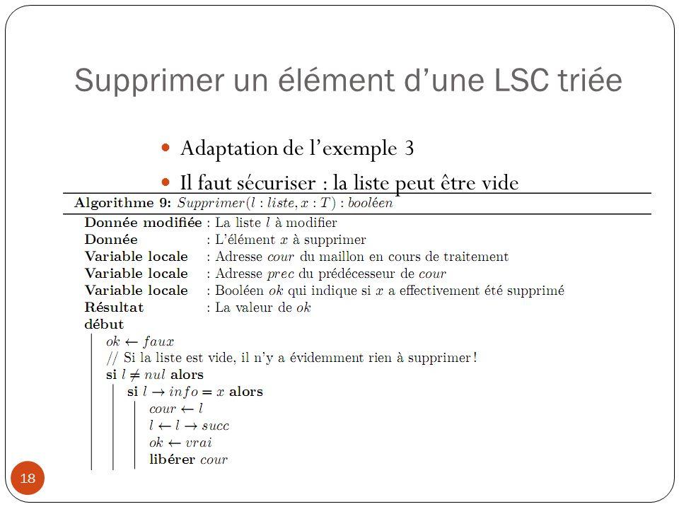 Supprimer un élément d'une LSC triée