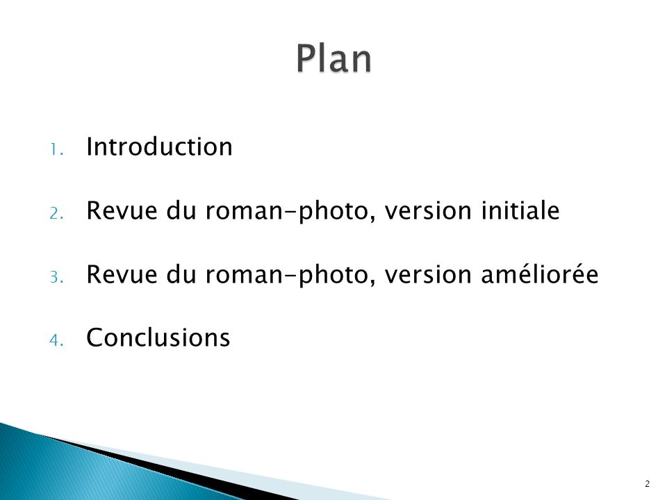 Plan Introduction Revue du roman-photo, version initiale