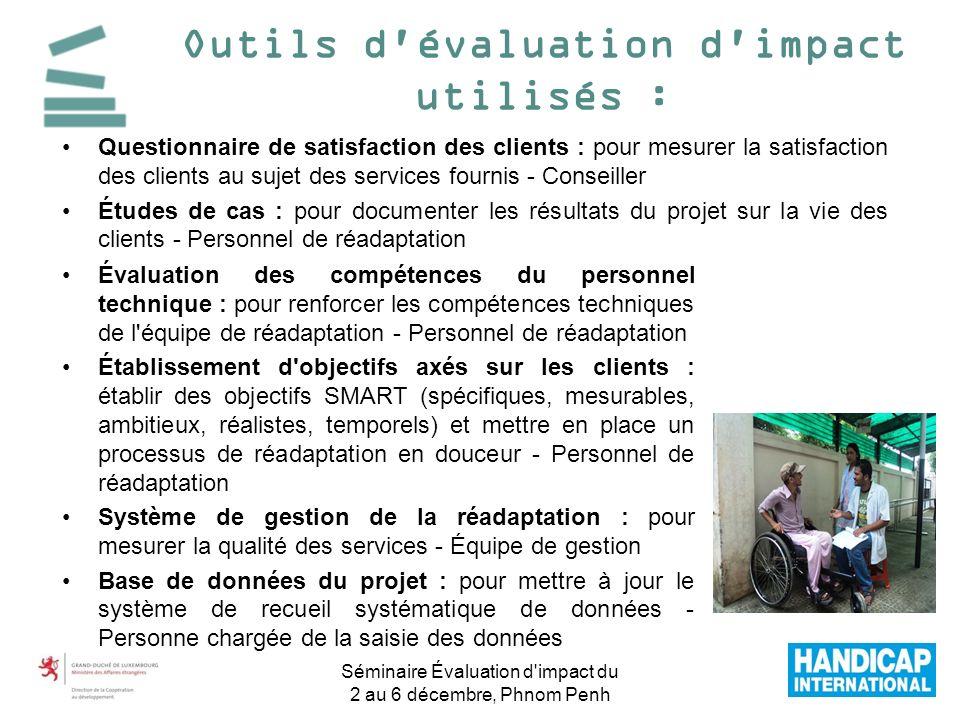 Outils d évaluation d impact utilisés :