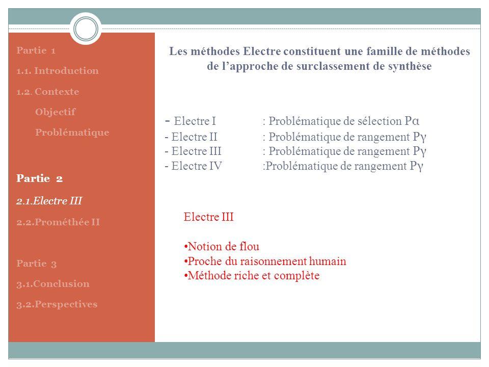 Partie 1 1.1. Introduction. 1.2. Contexte. Objectif. Problématique. Partie 2. 2.1.Electre III.
