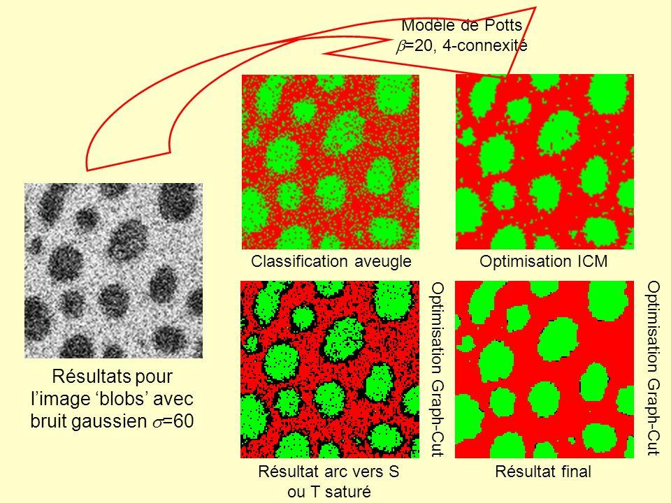 Résultats pour l'image 'blobs' avec bruit gaussien s=60
