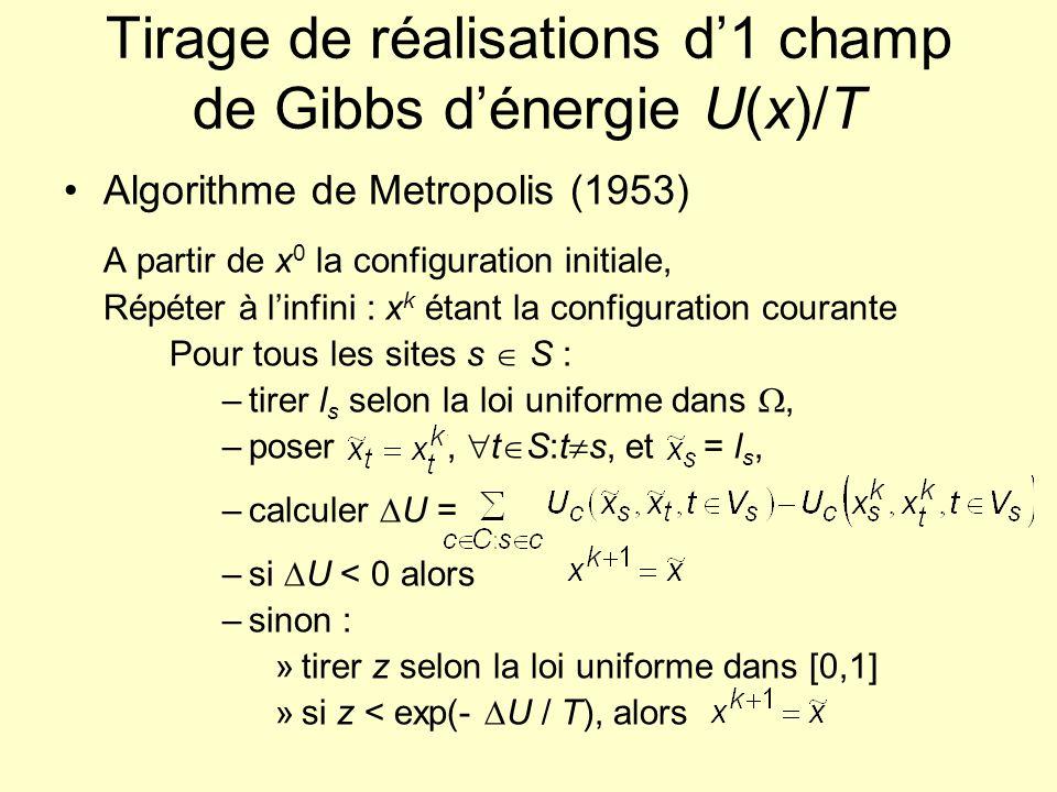 Tirage de réalisations d'1 champ de Gibbs d'énergie U(x)/T