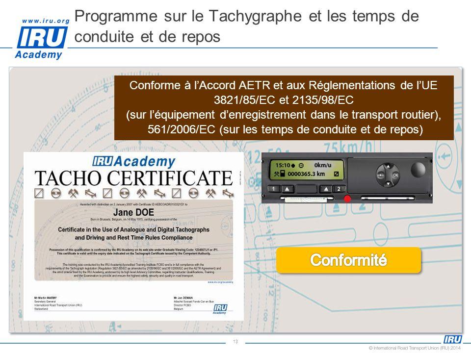 Programme sur le Tachygraphe et les temps de conduite et de repos