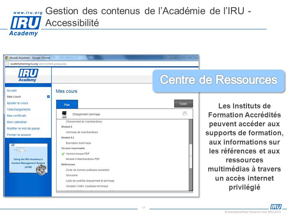 Gestion des contenus de l'Académie de l'IRU - Accessibilité