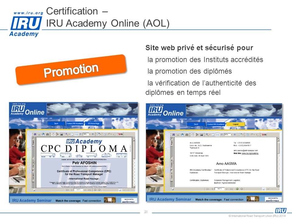 Certification – IRU Academy Online (AOL)