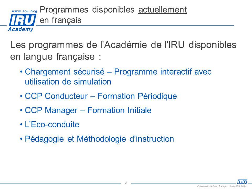 Programmes disponibles actuellement en français