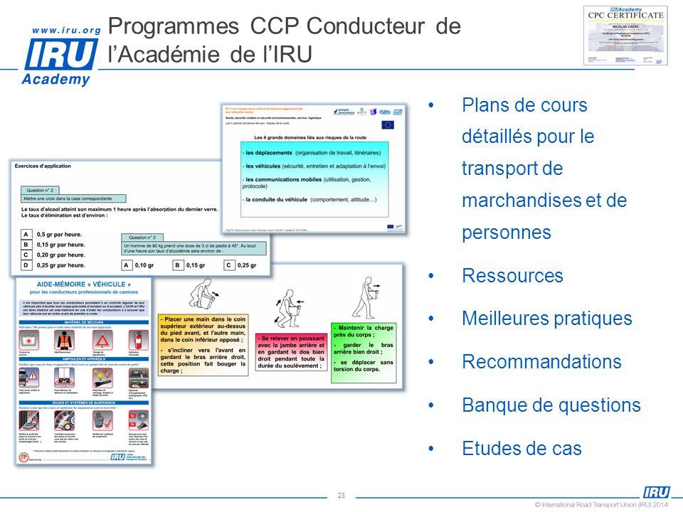 Programmes CCP Conducteur de l'Académie de l'IRU