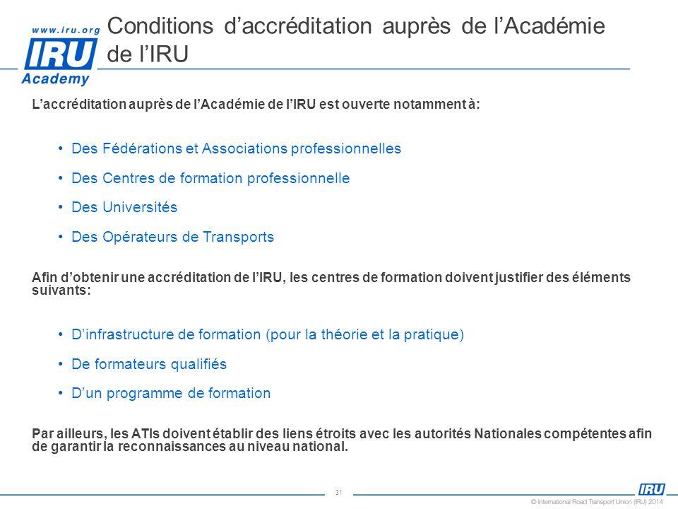 Conditions d'accréditation auprès de l'Académie de l'IRU