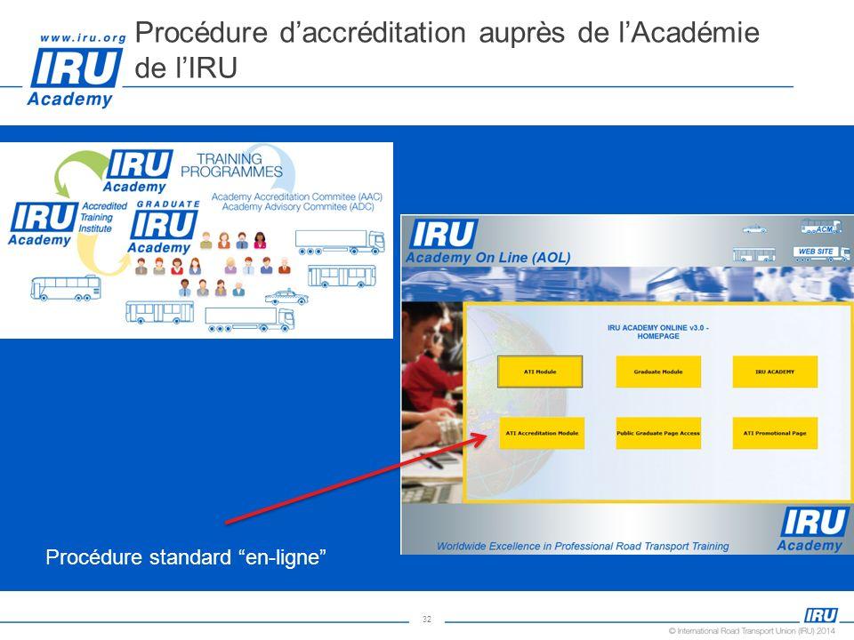 Procédure d'accréditation auprès de l'Académie de l'IRU