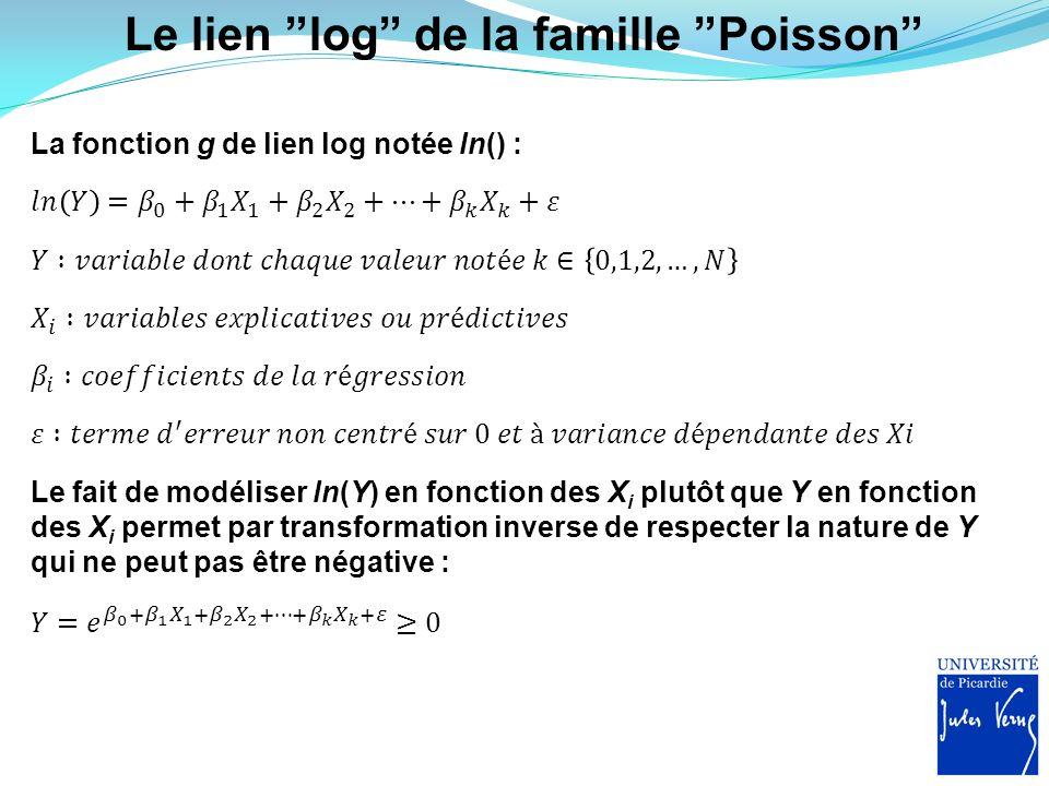 Le lien log de la famille Poisson