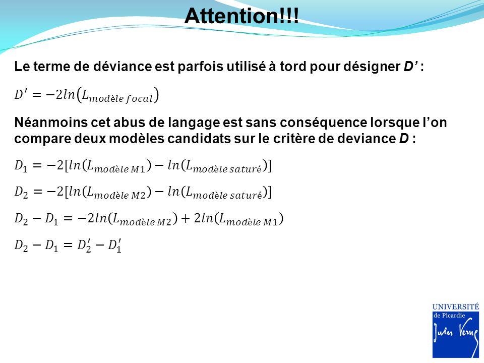 Attention!!! Le terme de déviance est parfois utilisé à tord pour désigner D' : 𝐷 ′ =−2𝑙𝑛 𝐿 𝑚𝑜𝑑è𝑙𝑒 𝑓𝑜𝑐𝑎𝑙.