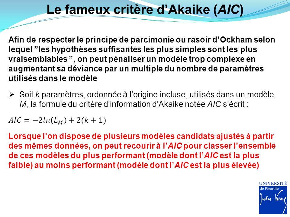 Le fameux critère d'Akaike (AIC)