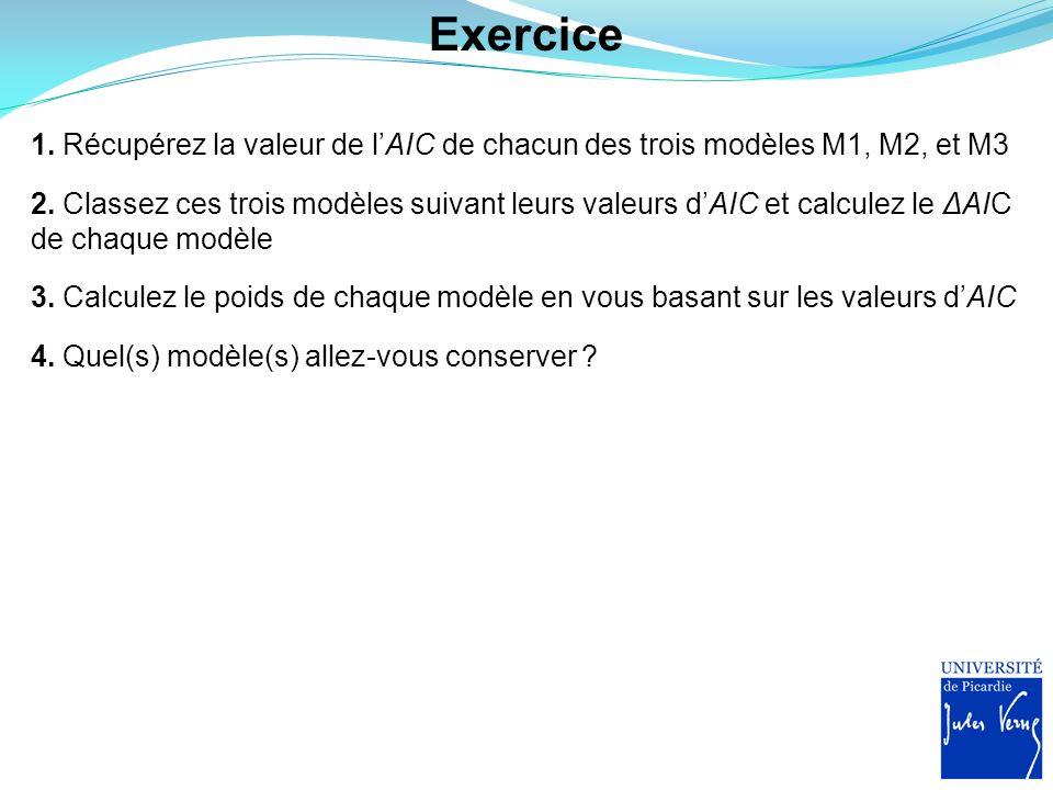 Exercice 1. Récupérez la valeur de l'AIC de chacun des trois modèles M1, M2, et M3.