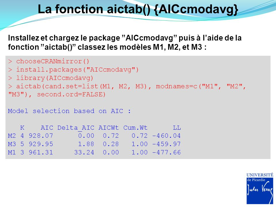 La fonction aictab() {AICcmodavg}