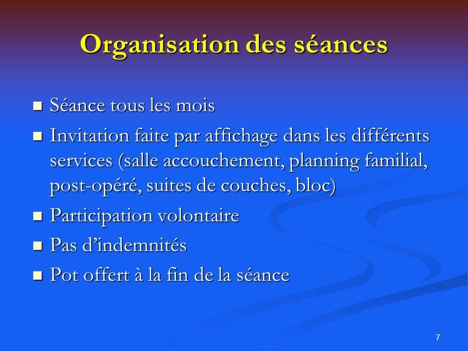 Organisation des séances