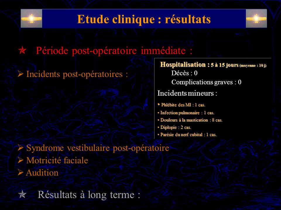 Etude clinique : résultats