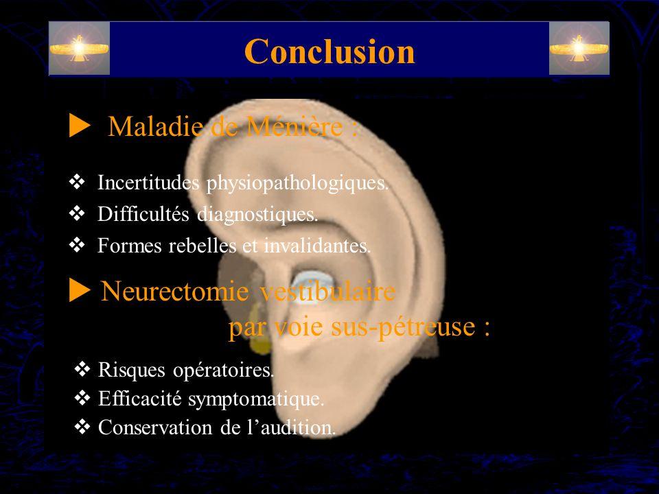 Conclusion  Maladie de Ménière : Neurectomie vestibulaire