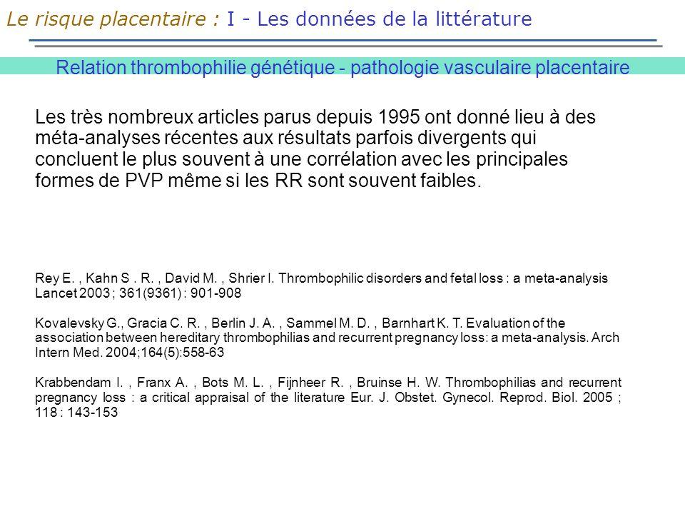 Relation thrombophilie génétique - pathologie vasculaire placentaire