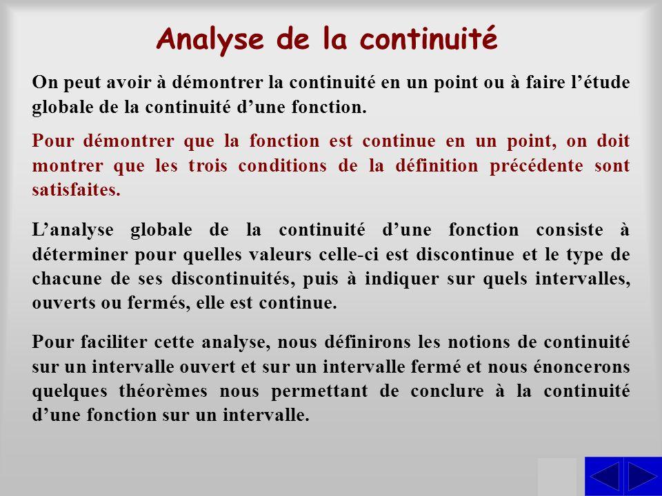 Analyse de la continuité