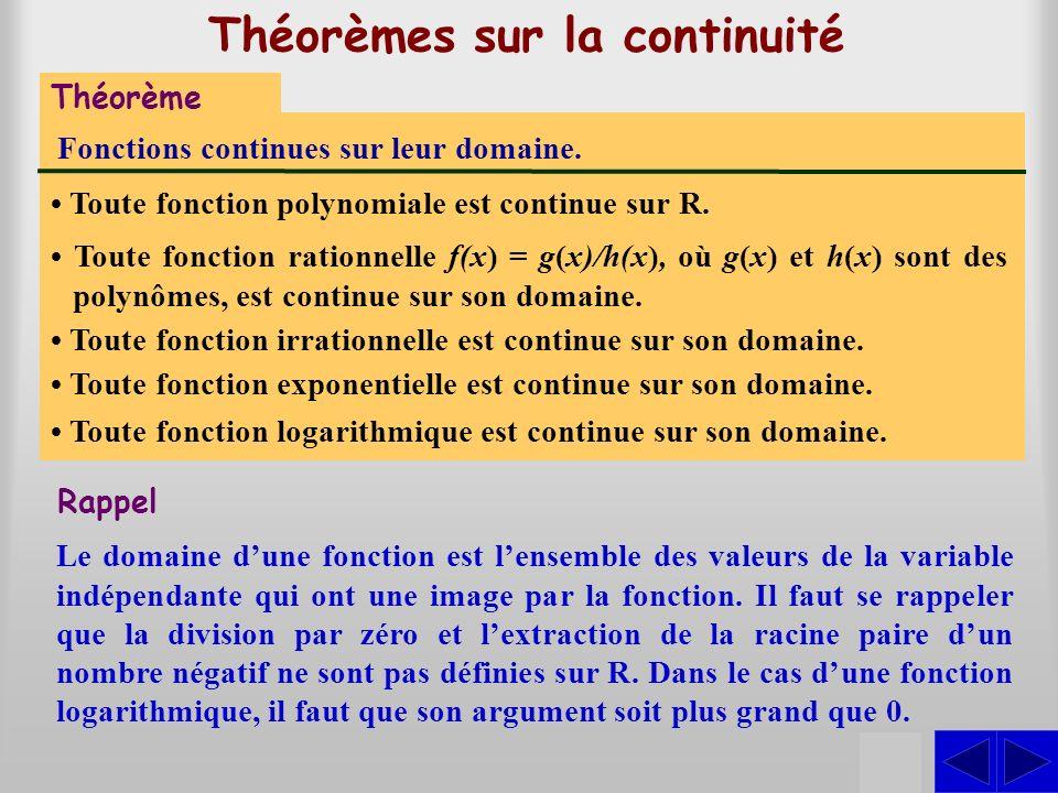 Théorèmes sur la continuité