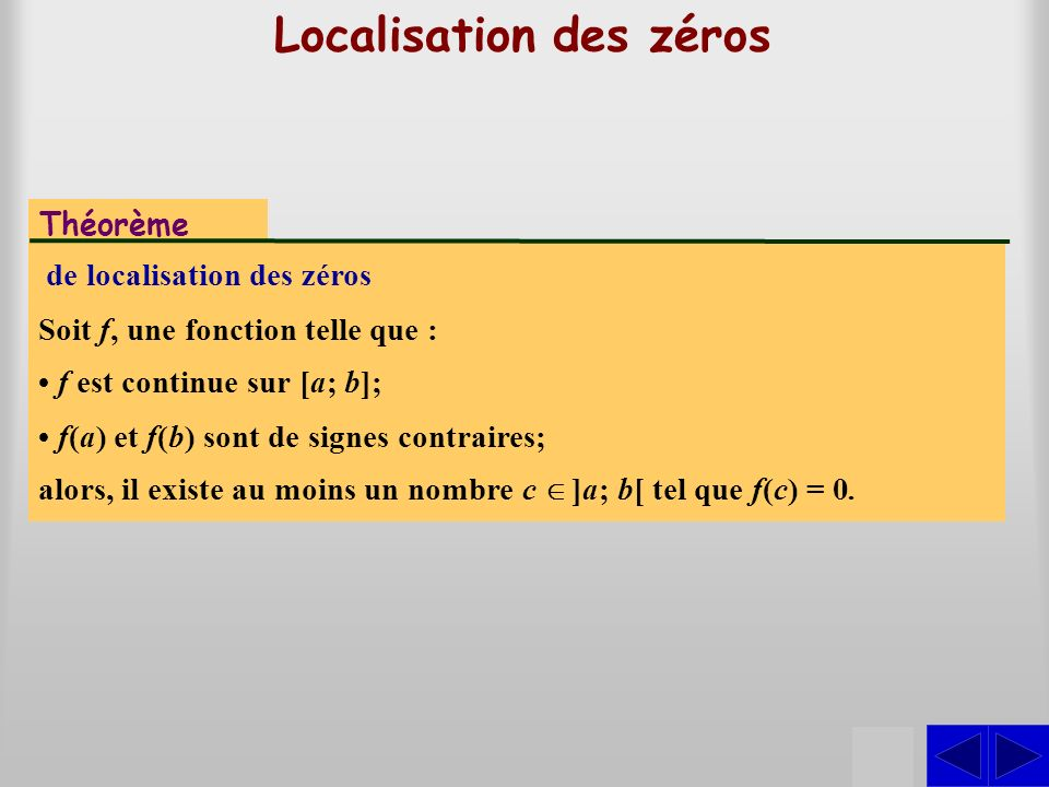 Localisation des zéros