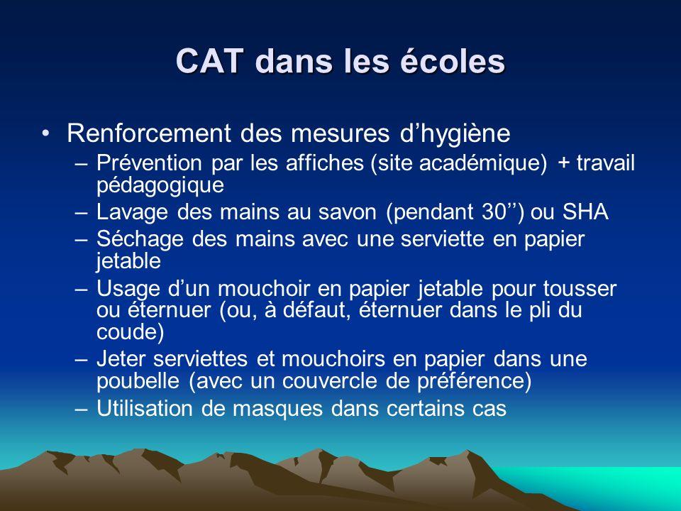CAT dans les écoles Renforcement des mesures d'hygiène