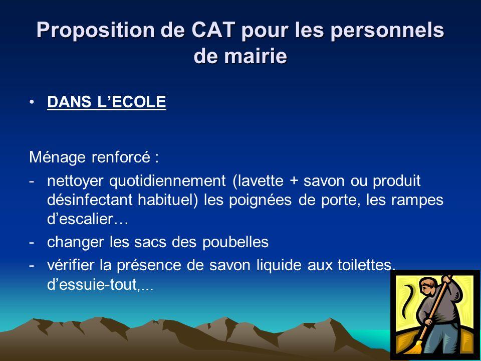 Proposition de CAT pour les personnels de mairie