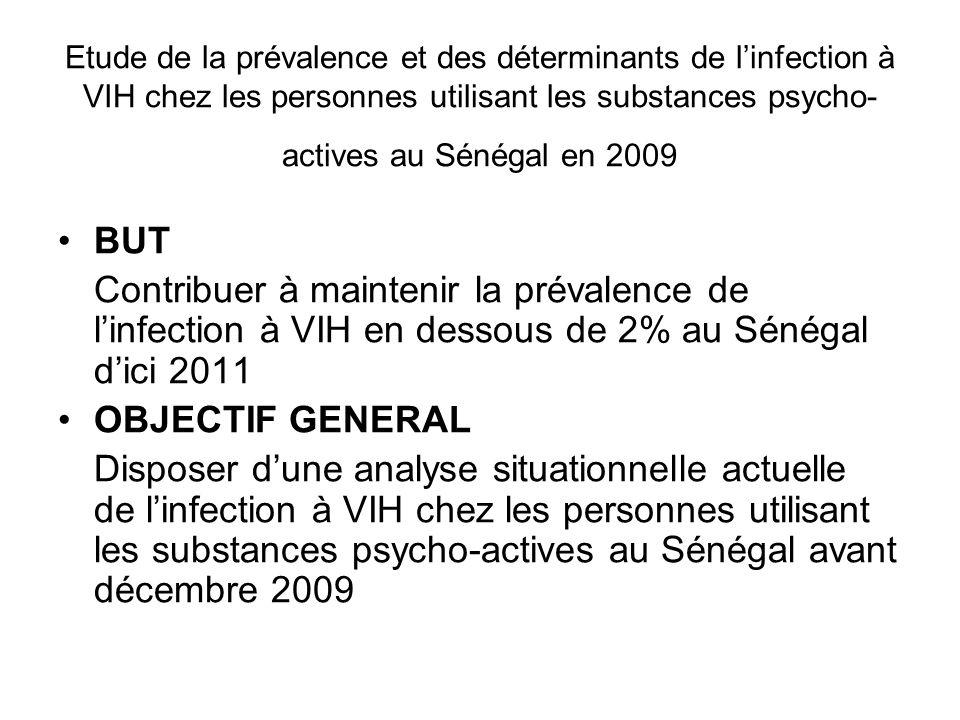 Etude de la prévalence et des déterminants de l'infection à VIH chez les personnes utilisant les substances psycho-actives au Sénégal en 2009