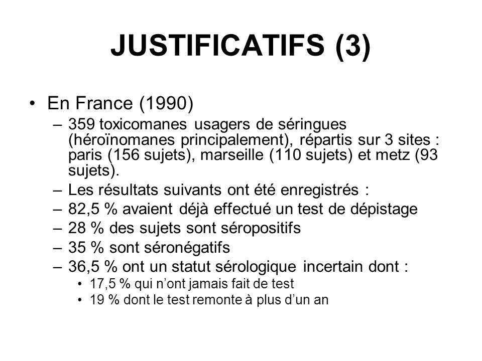 JUSTIFICATIFS (3) En France (1990)