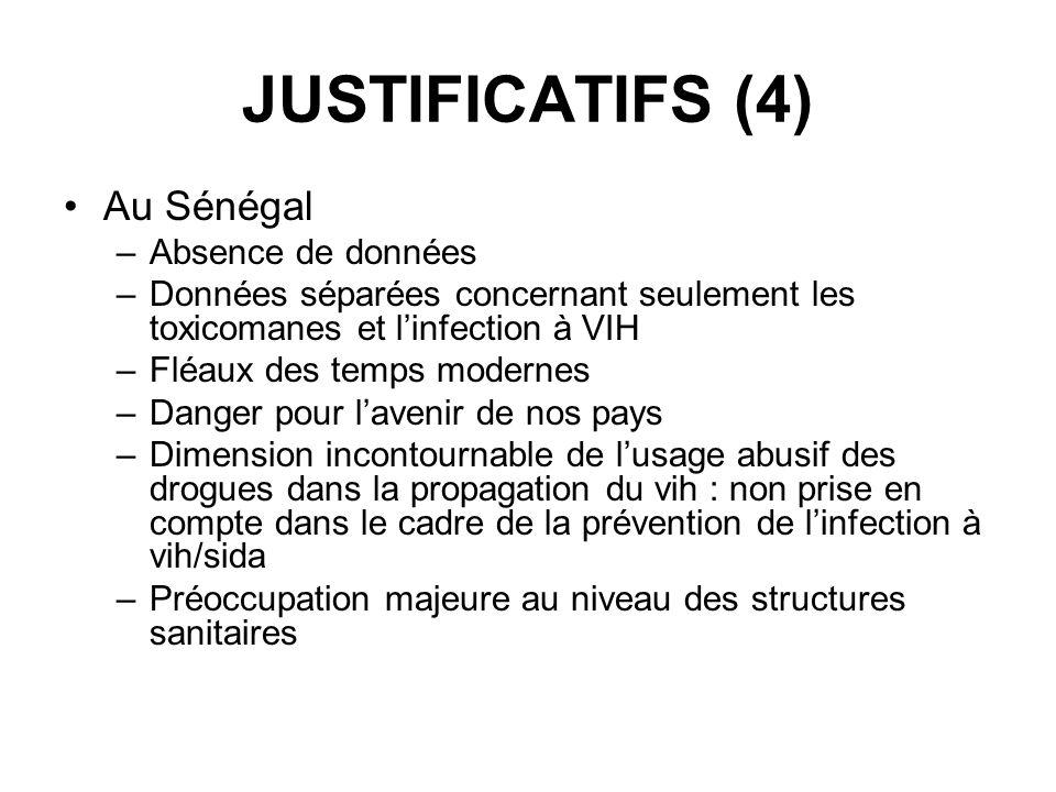 JUSTIFICATIFS (4) Au Sénégal Absence de données