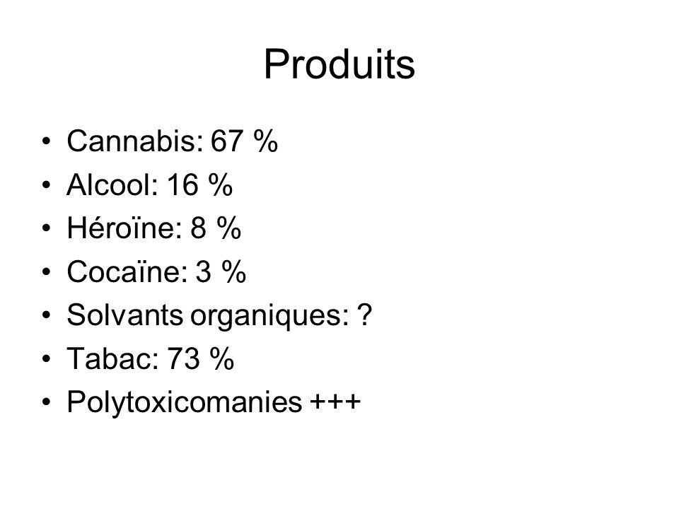 Produits Cannabis: 67 % Alcool: 16 % Héroïne: 8 % Cocaïne: 3 %