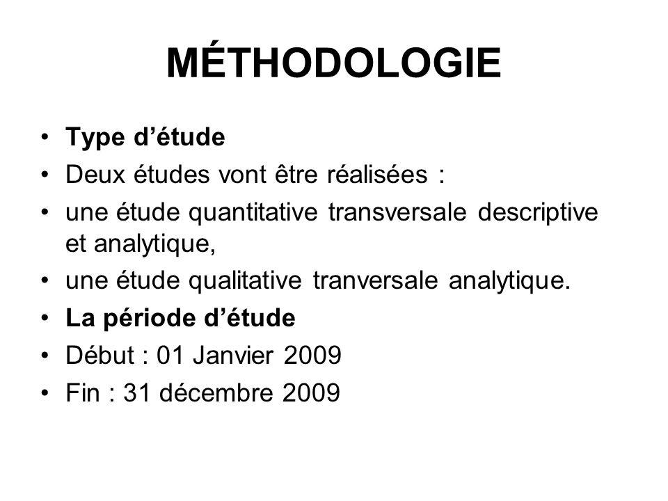 MÉTHODOLOGIE Type d'étude Deux études vont être réalisées :
