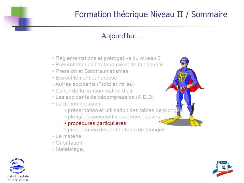 Formation théorique Niveau II / Sommaire