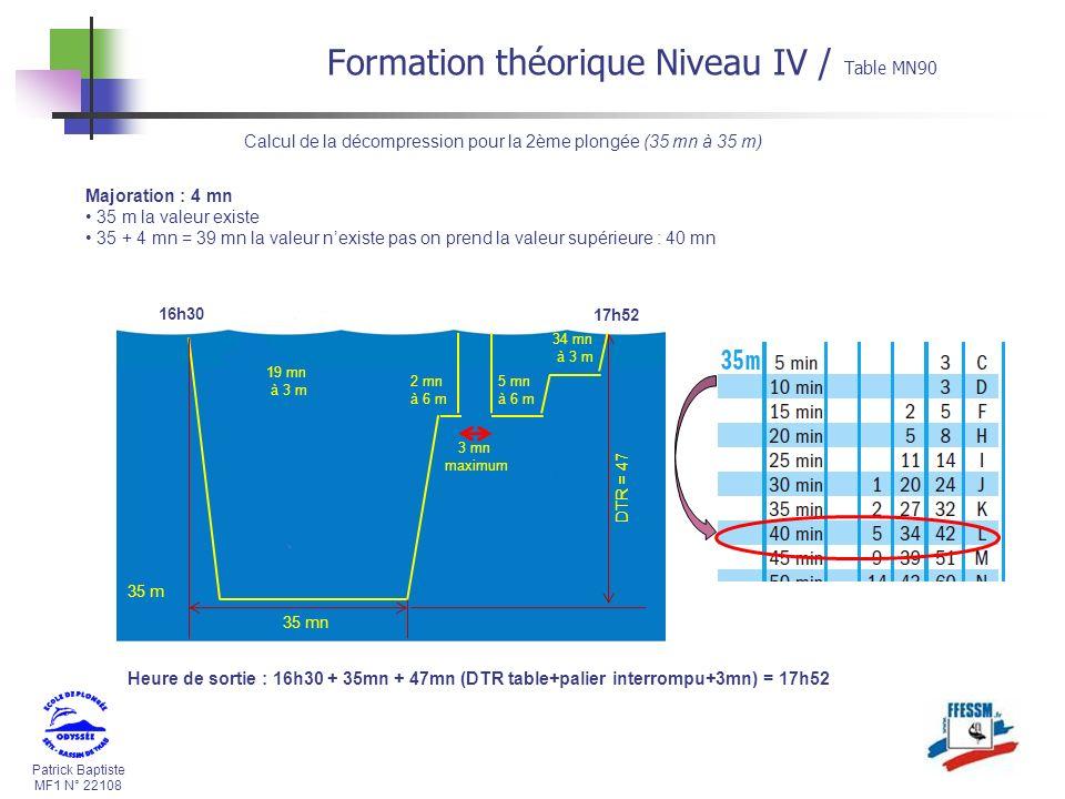 Calcul de la décompression pour la 2ème plongée (35 mn à 35 m)