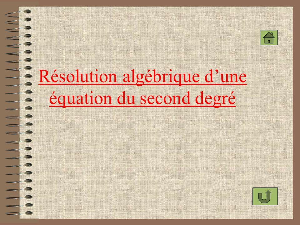 Résolution algébrique d'une équation du second degré