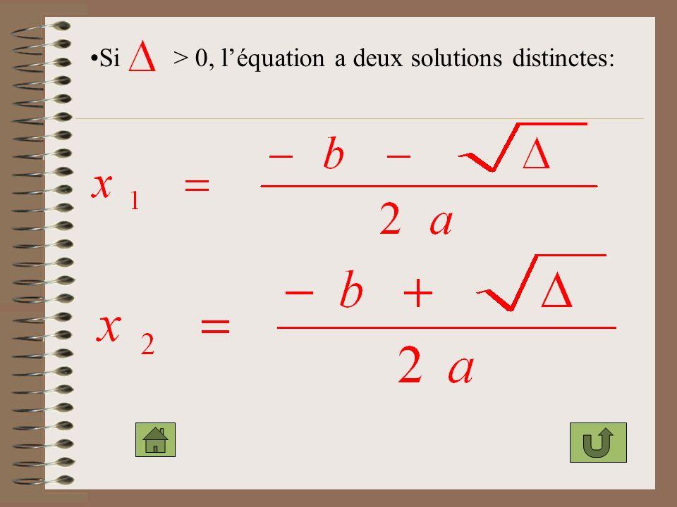Si > 0, l'équation a deux solutions distinctes: