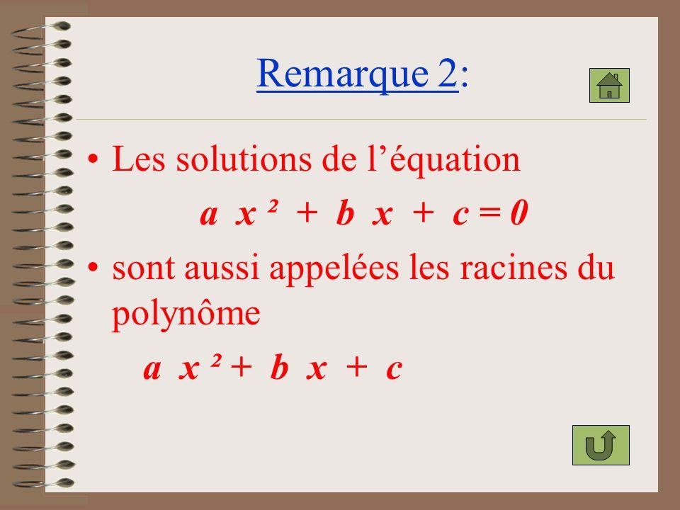 Remarque 2: Les solutions de l'équation a x ² + b x + c = 0