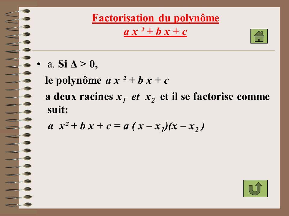 Factorisation du polynôme a x ² + b x + c