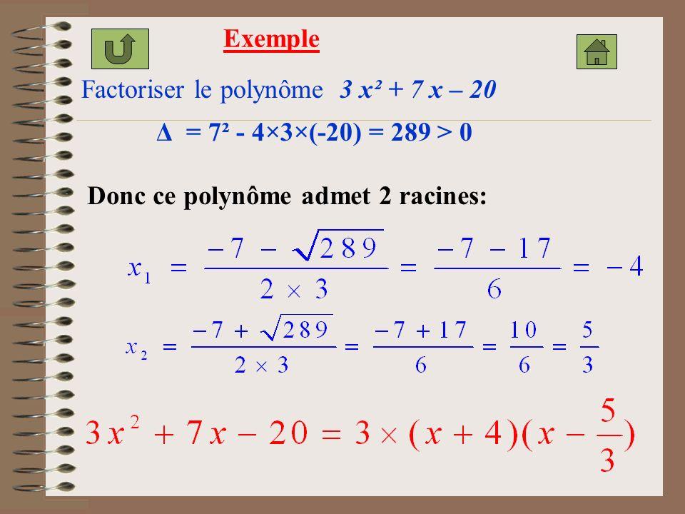 Exemple Factoriser le polynôme 3 x² + 7 x – 20. Δ = 7² - 4×3×(-20) = 289 > 0.