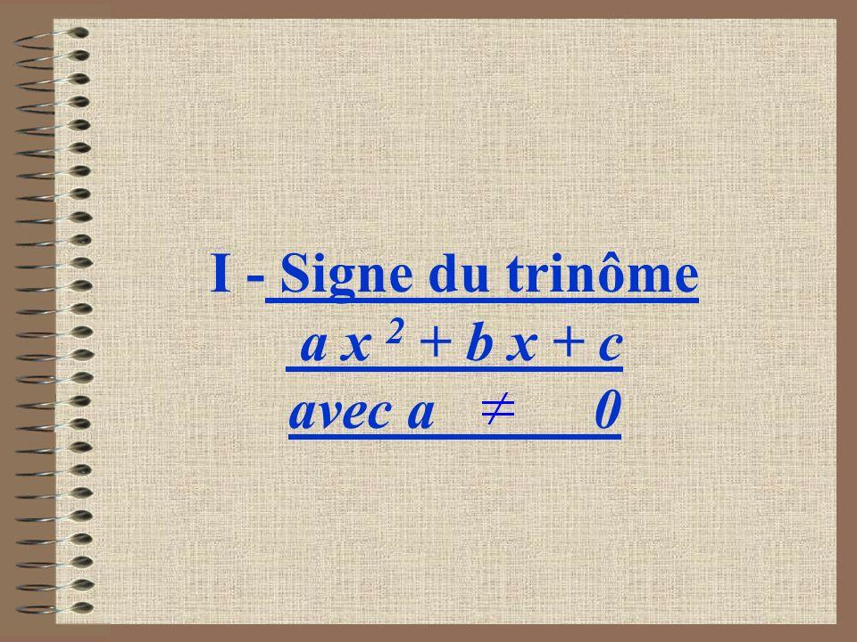 I - Signe du trinôme a x 2 + b x + c avec a 0