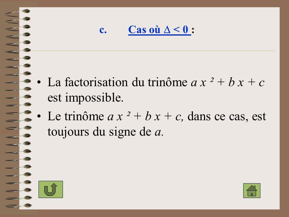 La factorisation du trinôme a x ² + b x + c est impossible.