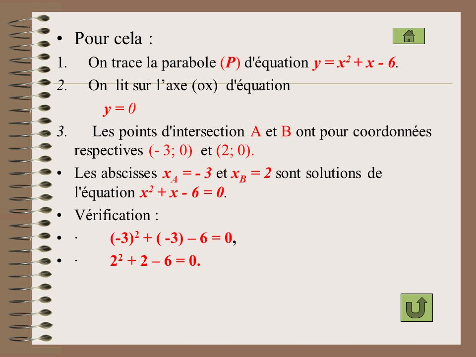 Pour cela : 1. On trace la parabole (P) d équation y = x2 + x - 6.