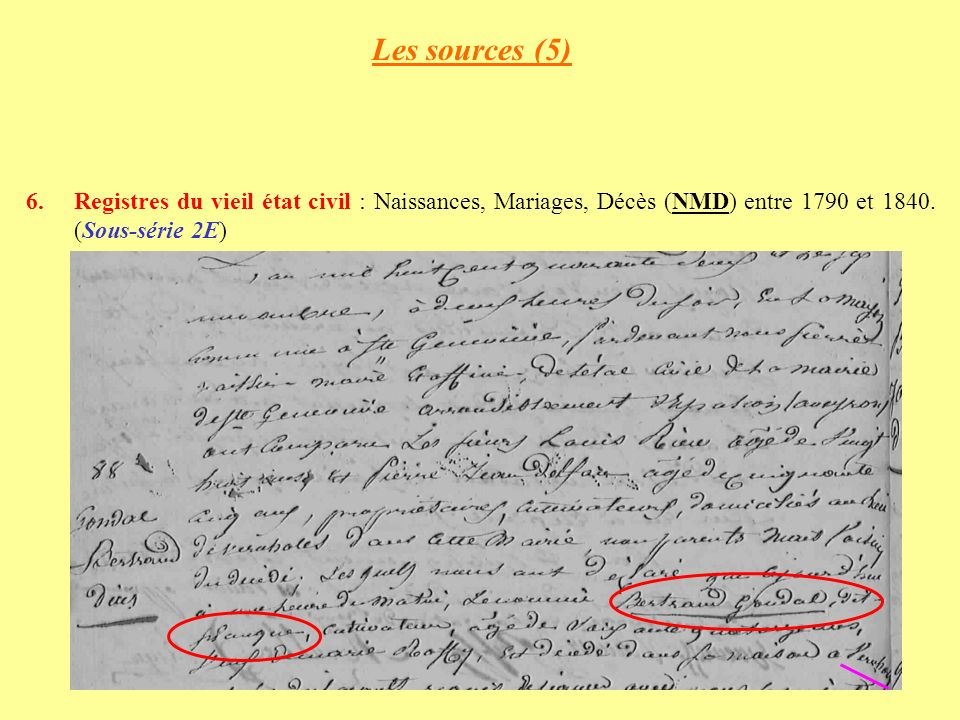 Les sources (5) Registres du vieil état civil : Naissances, Mariages, Décès (NMD) entre 1790 et 1840.