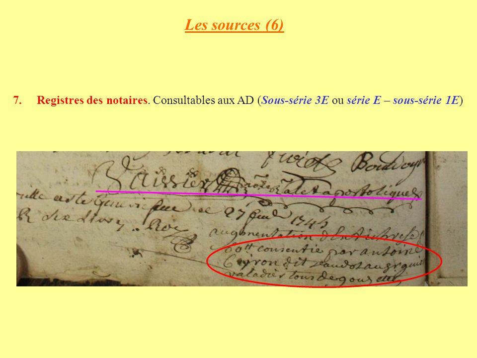 Les sources (6) Registres des notaires.